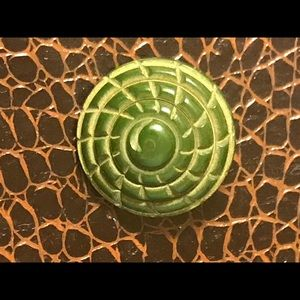 Intricately Carved Green Bakelite Button